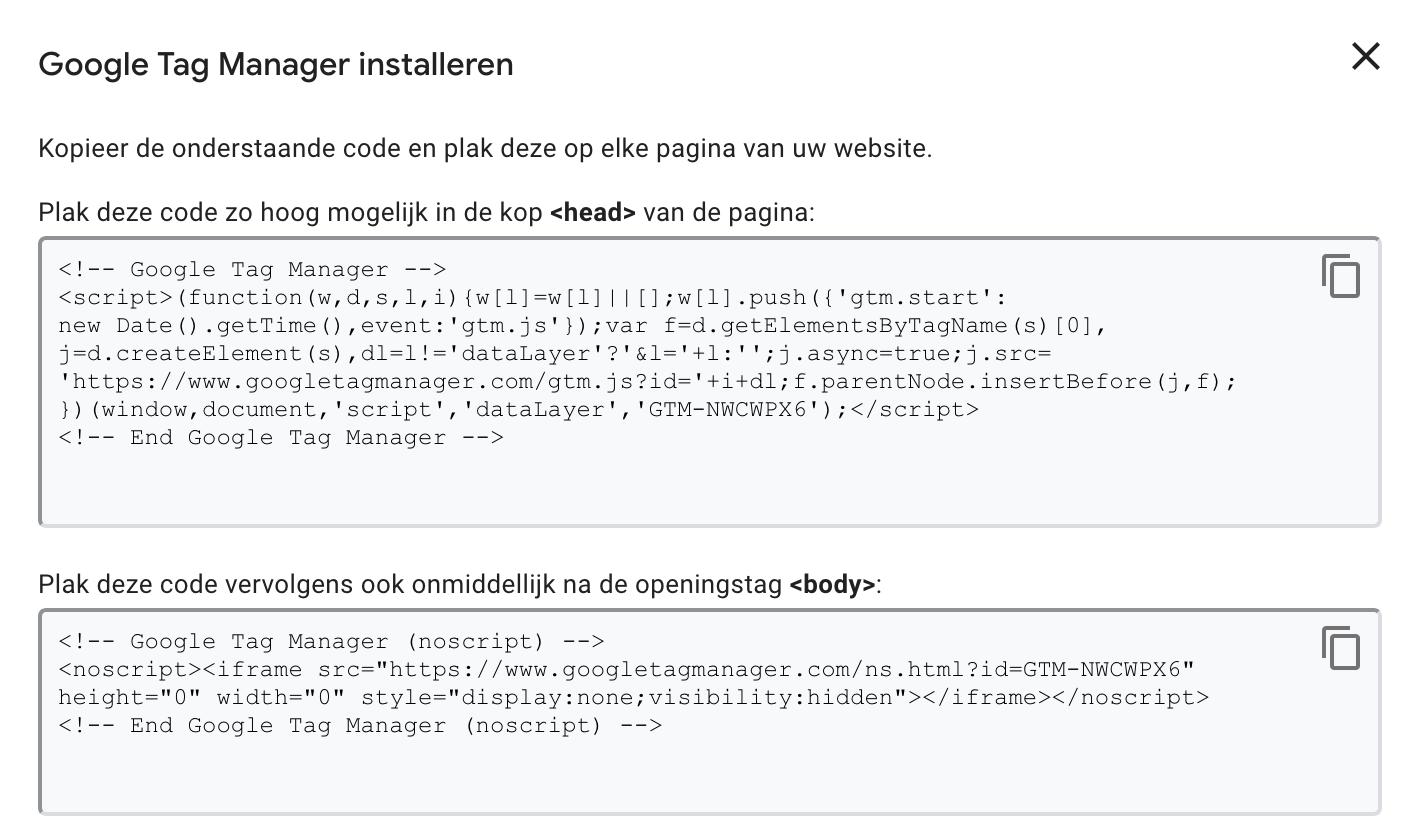 google tag manager installeren